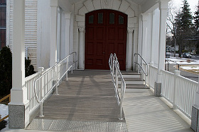 Ramp and walkway between church and meetinghouse
